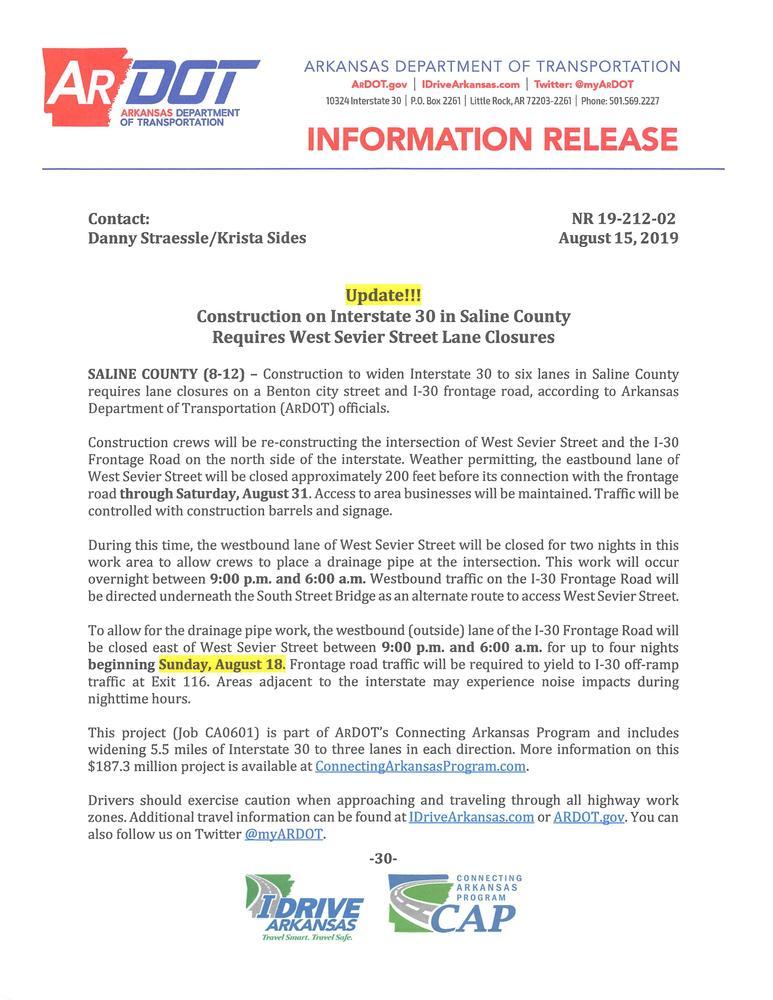 ROAD CLOSURE SUNDAY 8/18/2019 - News - Saline County Arkansas